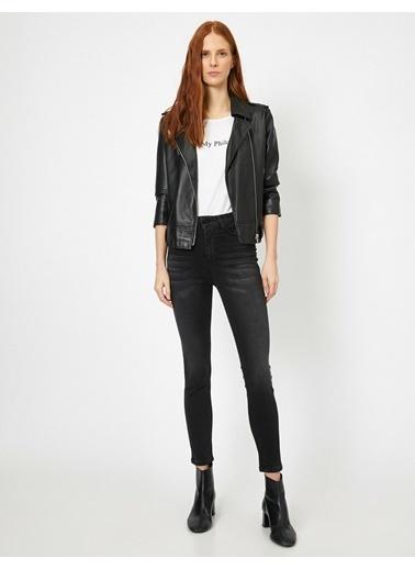 Koton Koton Taş İşlemeli Siyah Denim Pantolon Siyah